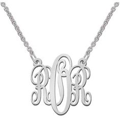 Zales Personalized Monogram Scroll Necklace in Sterling Silver (2 Initials) OhD95