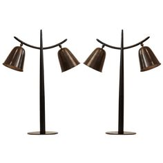 Pair of Italian Oil Rubbed Bronze Horn Lamps | From a unique collection of antique and modern table lamps at http://www.1stdibs.com/furniture/lighting/table-lamps/