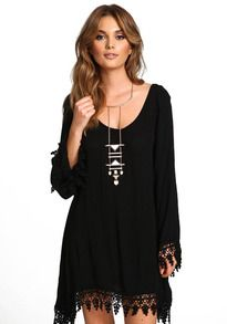 Lace Embellished Loose Dress