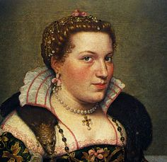 Moroni Portrait of Isotta Brembati 1550's.  Bergamo/Lombardy.  Note single ribbon bow, hair jewelry that comes forward and ends in a pearl right at the center of the hairline.  Two sets of curls, larger continuous roll/curl along the entire front hairline, and a much smaller set starting at the temples.