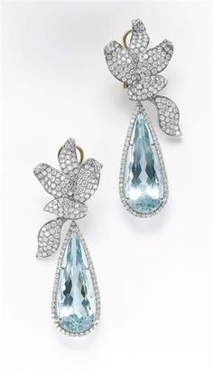 Aquamarine  Diamond Dangle Earrings