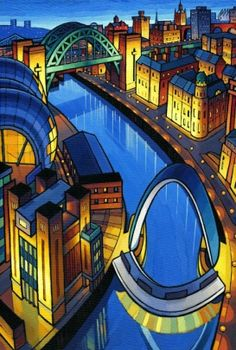 Two Newcastle Bridges, by Jim Edwards Norwich School, Professional Painters, Back Pieces, Landscape Illustration, Newcastle, Art School, Bridges, Art Prints, Mansions