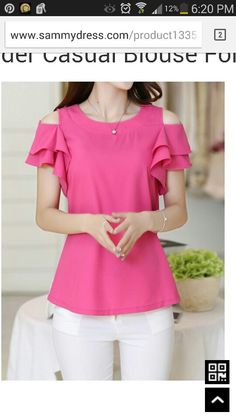 Casual Scoop Neck Off-the-Shoulder Flounce Blouse For Women Casual Wear, Casual Outfits, Short Tops, Types Of Sleeves, Dress Patterns, Blouse Designs, Shirt Blouses, Blouses For Women, Designer Dresses