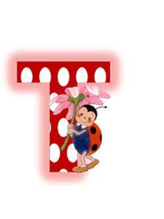 O alta varianta a literelor cu buburuze  Sper sa va bucurati de ele!                                                                       ... Ladybug Picnic, Alfabeto Animal, Letter T, Alphabet Letters, Smurfs, Collage, Symbols, Frame, Lady Bug