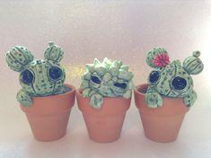 Custom Cactus Sculptures Set Of Three Cute by PlayfulPixieCreation