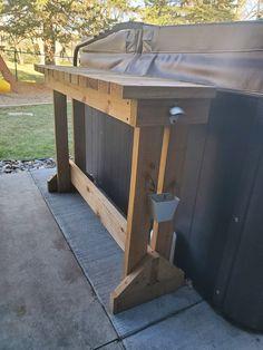 Hot Tub Garden, Hot Tub Backyard, Backyard Patio, Outdoor Hot Tubs, Backyard Ideas, Diy Patio, Patio Ideas, Landscaping Ideas, Hot Tub Bar