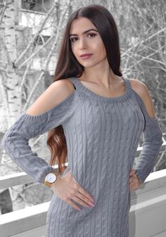 Unleash your great style with this grey cold-shoulder cable knit sweater. Photo by Klaudia. #LBSDaily