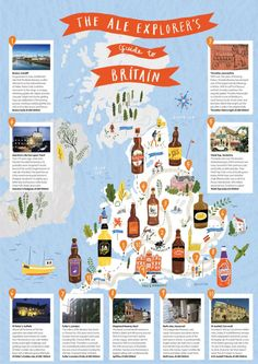 Cute illustrated map Nina Cosford - Ale Explorer's map of Britain Kawaii Illustration, Travel Illustration, Travel Maps, Travel Posters, Infographic Examples, Infographics, Explorer Map, Map Of Britain, Mental Map