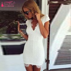 Tight White Short Homecoming Dresses Sexy V-Neck Backless   Lace Party Dresses  Formal wear Z280