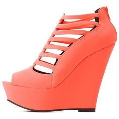 Charlotte Russe Neon Coral Qupid Strappy Caged Peep Toe Wedges by... ($19) ❤ liked on Polyvore featuring shoes, sandals, heels, neon coral, strappy sandals, strappy wedge sandals, wedge sandals, strappy heel sandals et t strap shoes