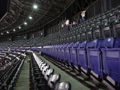 The row of purple seats at Coors Field marks the mile high point.
