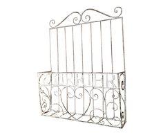Portabottiglie in ferro bianco - 40x50x8 cm