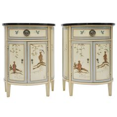 Demi Lune Chinoiserie end tables | $2800US pair