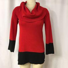 Jones New York Signature Red and Black Cowl Neck Long Sleeve Sweater Sz Small #JonesNewYork #CowlNeck