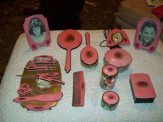 Pink Art Deco Vanity Set want it!