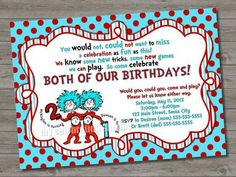 seuss thing 1 thing 2 birthday party invitation printable 5 00