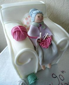 Nana knitting cake by Hannah Spittlehouse Pretty Cakes, Beautiful Cakes, Amazing Cakes, Themed Birthday Cakes, Themed Cakes, 60th Birthday, Cupcakes, Cupcake Cookies, Knitting Cake