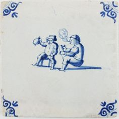 Antique Dutch Delft tile with two men drinking and smoking, 17th century