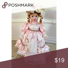 Vintage porcelain doll CHEAPER THROUGH 🅿️ OR VENMO! OPEN TO TRADES  Satin and lace pink and white dress, comes with stand Other