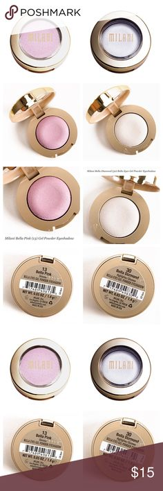 2 NEW Bella Gel Eyeshadows: Diamond & Pink The Best.  Full Size.  New.  Never opened.   Bella Diamond (30) is a highlighter too! Bella Pink (13) completes the pair. Milani Makeup Eyeshadow