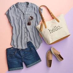 Stitch fix outfits, spring shorts outfits, summer vacation Mode Outfits, Short Outfits, Casual Outfits, Fashion Outfits, Womens Fashion, Fashion Tips, Fashion Trends, Kohls Outfits, Fashion Hacks