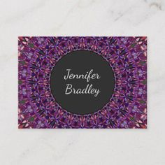 Shop Purple Colorful Floral Mandala Business Card created by ZyddArt. Beauty Business Cards, Elegant Business Cards, Business Card Design, Print Templates, Card Templates, Print Design, Graphic Design, Wedding Event Planner, Mandala
