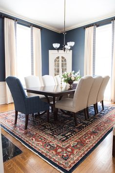 Formal Dining Room Ideas: The Choice of Dining Set and Color.- Formal Dining R. Formal Dining Room Ideas: The Choice of Dining Set and Color…- Formal Dining Room Ideas: The Choi Dining Room Curtains, Dining Room Blue, Dining Room Wall Decor, Elegant Dining Room, Beautiful Dining Rooms, Dining Room Design, Dining Room Furniture, Formal Dining Rooms, Dining Room Rugs