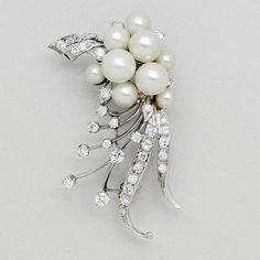 Cultured Pearl, Diamond and 14K White Gold Brooch, circa 1950