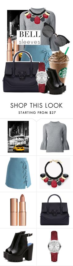 """""""Street Style Trend: Bell Sleeves"""" by thestclaire ❤ liked on Polyvore featuring Carolina Herrera, Chicwish, Chico's, Charlotte Tilbury, Versace, Burberry, StreetStyle, newyorker and bellsleeves"""
