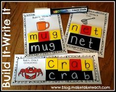 Free printables for making your own Build It-Write It cards. Pics for CVC and CCVC words. Great center or small group instruction activity.
