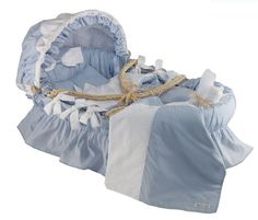Blue Egyptian Cotton Baby Moses Basket-blue egyptian cotton baby moses basket,portable baby bed,heirloom baby bed,moses basket,wendy anne