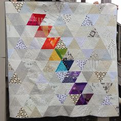 Our June quilt is done! Carla, from Modern Bias, designed and completed this one for the group!   image via Carla The combination of jewel tone and low volume works great in this triangle quilt!   image via Carla When we were first given the assignment, we were given the sketch above as an idea […]