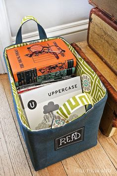 DIY Fabric Basket with Chalkboard Label via Little Yellow Couch... for the stairs