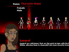 And here's a GIF showing the character creation screen. You can choose between any of the 7 clans of the Camarilla.