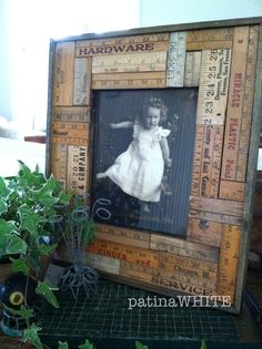 Picture frame made of vintage rulers and yard sticks - so cute!