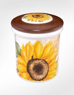 Spigarelli Sunflower Ceramic and Wood Jar
