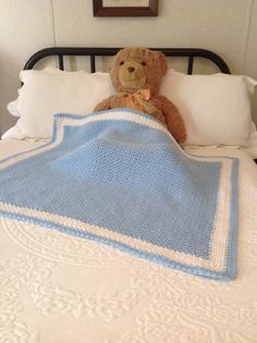 NEW Hand Crochet Blue Baby Blanket/Afghan White Trim by YarnQueens, $59.95