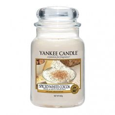 Spiced White Cocoa Large Jar Candle Bring the sweet and comforting scent of Christmas into your home with this beautiful fragrance from Yankee Candle. Spiced White Cocoa evokes instant thoughts of warm a Grey Candles, Luxury Candles, Yankee Candle Scents, Yankee Candles, Scented Candles, Candle Jars, Leaves Changing Color, Cocoa Tea, Candle Diffuser