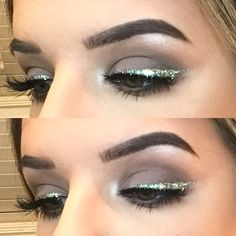Obsessed with this glitter winged liner  makeup by me on me ‍♀️ #makeup #glitter #wingedliner #winter #sparkles #followme  Follow me on insta: Chelsea_Nicole_Mua