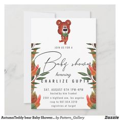AutumnTeddy bear Baby Shower Invitation Baby Shower Invitation Cards, Baby Shower Invites For Girl, Colored Envelopes, White Envelopes, Rustic Invitations, Create Your Own Invitations, Paper Texture, Bear, Pregnancy
