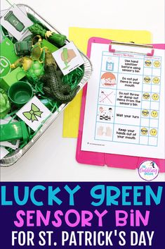 Lucky Green Sensory Bin for Speech Therapy - thedabblingspeechie Speech Pathology, Speech Therapy, March Lesson Plans, Green Wrapping Paper, Can You Find It, Alphabet Sounds, Prepositional Phrases, Lakeshore Learning, Green Toys