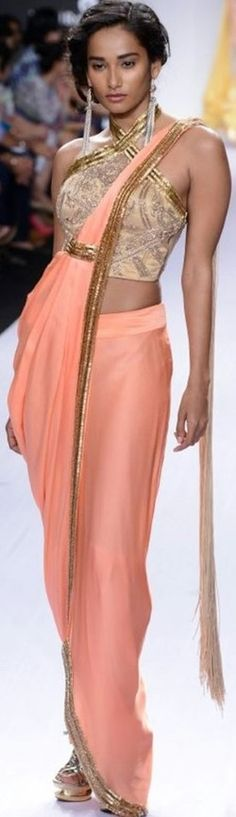 Gorgeous Saree Gown in peach, & gold by http://SonaakshiRaaj.in/collections.html @ LFW Spring/Resort 2014.