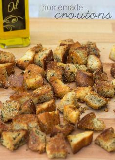 Delicious Homemade Croutons - perfect for any salad! { lilluna.com } Better than any store bought croutons!