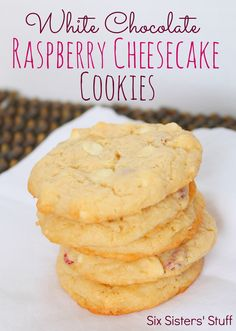 White Chocolate Raspberry Cheesecake Cookies from SixSistersStuff.com.  So easy to make but taste amazing! #cookies #recipes #dessert