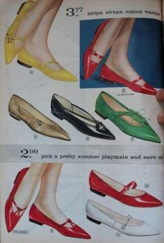 1960s Mary Jane Strap Flats and Slip Ons. 1960s shoe styles reflected the change in fashion. Instead of big heels, shoes were now flat, very flat. Many had small square heels and a single Mary Jane strap just like a doll's shoes. Flat and low heel shoes were comfortable, easy to wear, easy to live life in. Just what every woman wanted in her 1960s clothes.