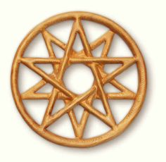 Double Pentacle wooden knot carving