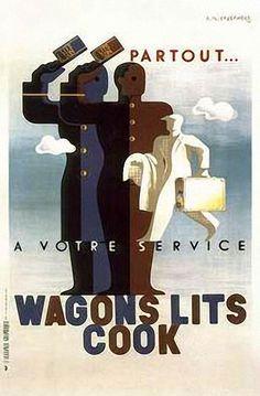 Wagons Lits Cook Vintage Art Deco Railroad Train Poster by A. Cassandre x 27 Motif Art Deco, Art Deco Design, Retro Design, Diesel Punk, Illustrations, Graphic Illustration, Train Posters, Railway Posters, Art Nouveau