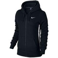Women's Nike Club Graphic 1T Full-Zip Fleece Hoodie (€51) ❤ liked on Polyvore featuring tops, hoodies, black and white, full zip hooded sweatshirt, hooded pullover, color block hoodie, sweatshirt hoodies and full zip hoodies