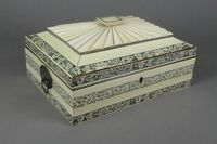 "Lot No 830, A 19th Century Anglo Indian ivory sewing box, the hinged lid revealing a well fitted interior decorated with scrolling flowers 5"" x 12 1/2"" x 9 1/2"", sold for £1,600"