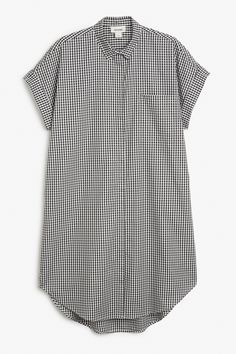 Monki Image 1 of Oversize sleeveless shirt dress in Black